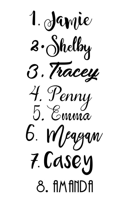 Decal Only: Wreath design with names