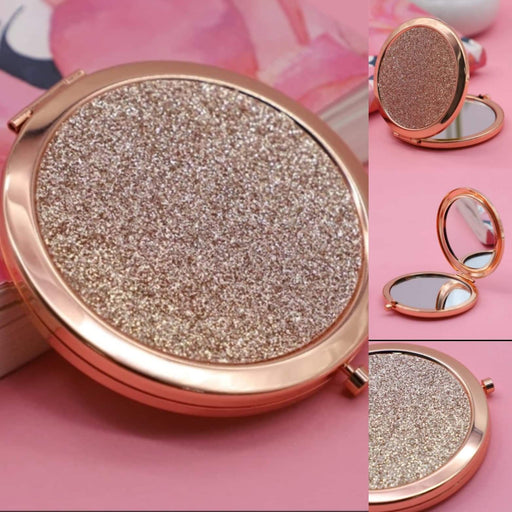 Rose Gold Glitter Compact Mirrors