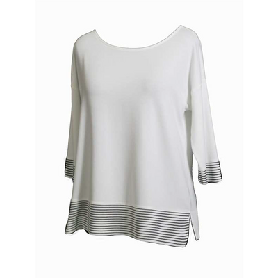Maria Bellentani - Off White Loose Fit 3/4 Sleeve Top with Black Stripes