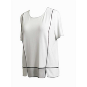 Maria Bellentani - Off White Loose Fit Short Sleeve Top with Black Piping