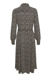 Part Two - True - Long Sleeve Feminine Belted Dress in Irregular Dot Print