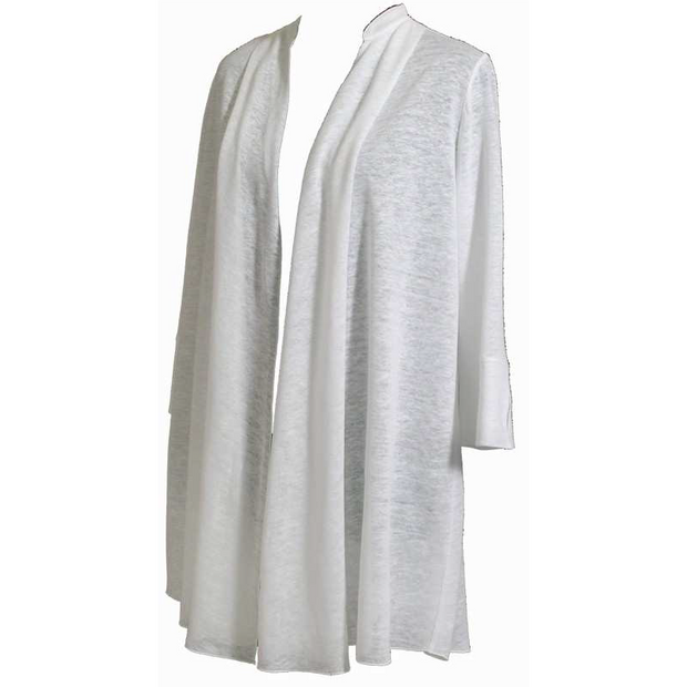 Maria Bellentani - White Open 3/4 Sleeve Swing Style Cardigan