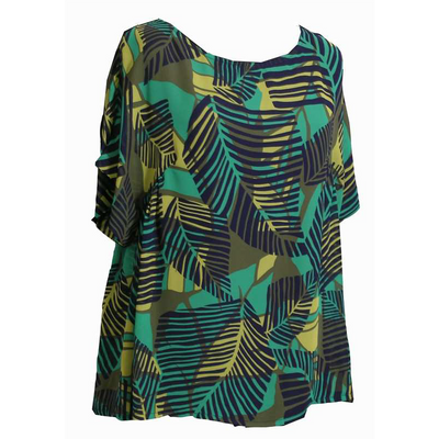 Maria Bellentani - Loose Fit Short Sleeve Cotton Blouse in Palm Leaf Print