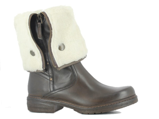 Manas - Leather with Faux Sheepskin Ankle Boot