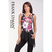 Frank Lyman - Black & Multicoloured Flowered Sleeveless Tunic Top