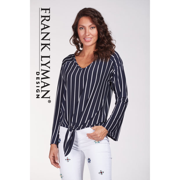 Frank Lyman - Navy Blue with White Stripe Long Sleeve Blouse