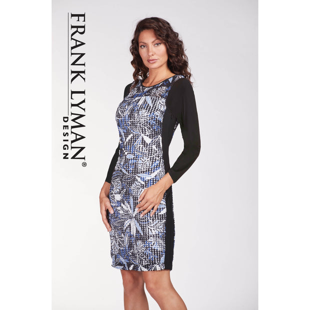 Frank Lyman - 3/4 Sleeve  Black & Blue Cocktail Dress