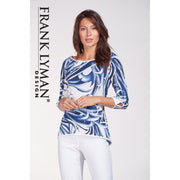 Frank Lyman - Blue and White 3/4 Sleeve Top
