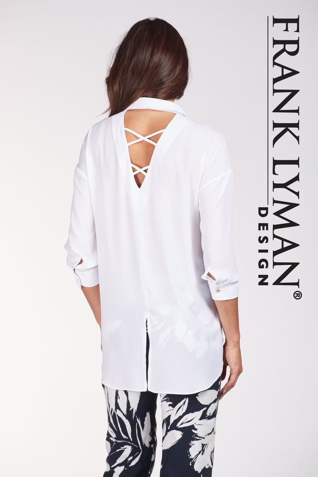 Frank Lyman - Stylish 3/4 Sleeve White Tunic Shirt