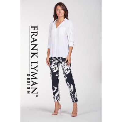 Frank Lyman - Navy Blue and White Straight Leg Stretch Trousers