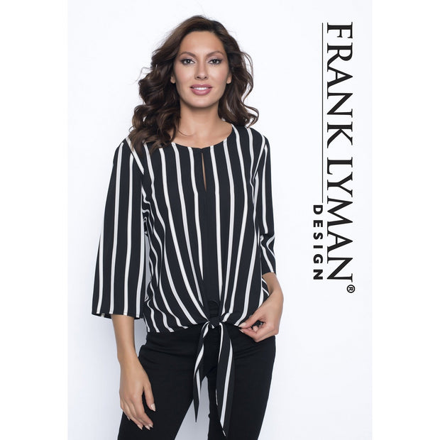 Frank Lyman - Black with White & Grey Stripes 3/4 Sleeve Tie Front Blouse