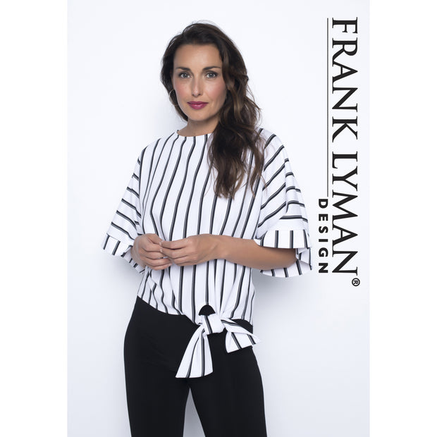 Frank Lyman - White with Black Stripes 3/4 Sleeve Blouse