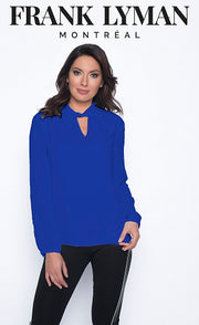 Frank Lyman - Long Sleeve Elegant Blouse with Cross over detail (2 colours)