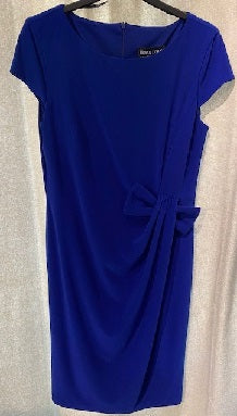 Frank Lyman - Sapphire Blue Knee Length Short Sleeve Cocktail Dress