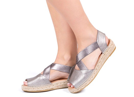 Kanna - K2111 - Flat Leather Crossover Espadrille with Elasticated Straps (3 colours)