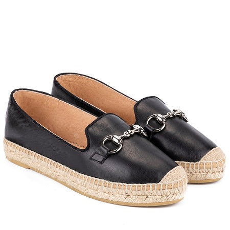 Kanna - K2228-Flat Slip on Soft Leather Espadrille (2 colours)