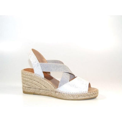Kanna - K2229-High Wedge Leather Crossover Espadrille with Elasticated Straps (2 colours)