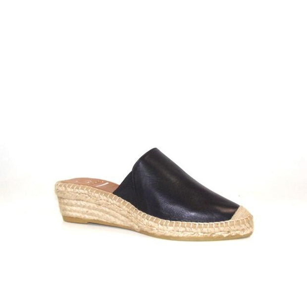 Kanna - K2125-Low Wedge Backless Slipper Style Espadrille Black