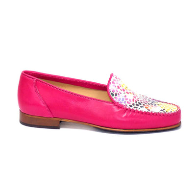 HB - Moccasin Leather Shoe with Multi Coloured Pattern on Top (2 colours)