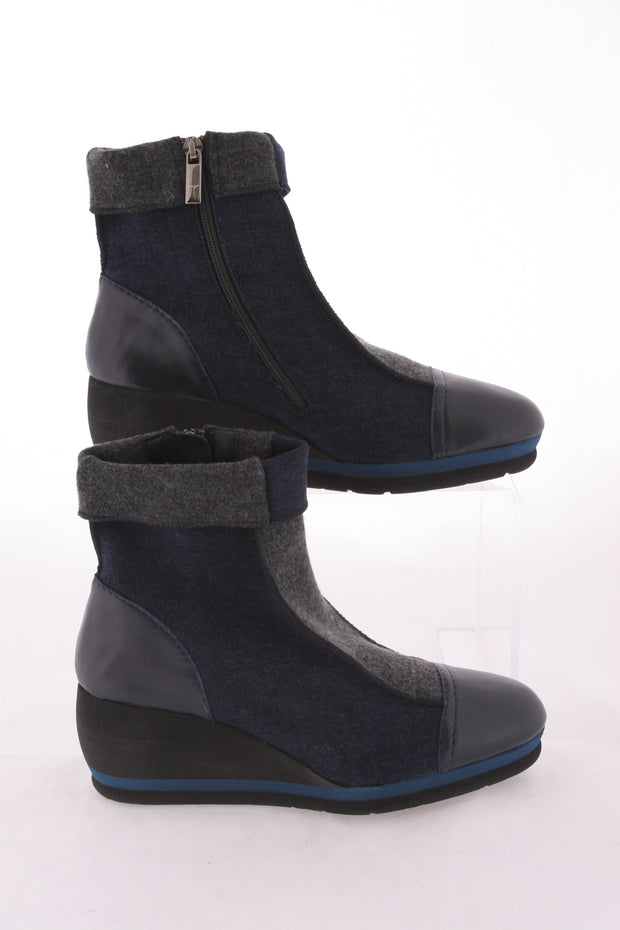 Thierry Rabotin – Matt Low Wedge Wool & Leather Ankle Boot