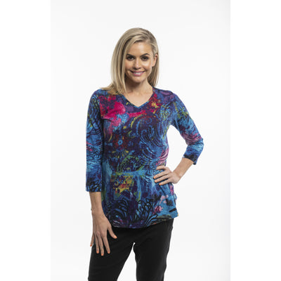 "Orientique - ""Oriental"" V Neck Long Sleeve Tee"