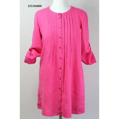 ERFO Long Linen Button Through Blouse with 3/4 Sleeves
