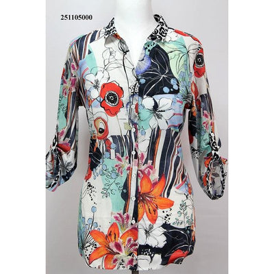 ERFO Long Bright Coloured Button Through Blouse with 3/4 Sleeves