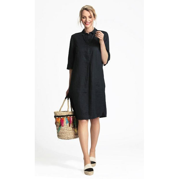 ERFO Easy Wear Linen Dress with 3/4 Sleeves (2 colours)