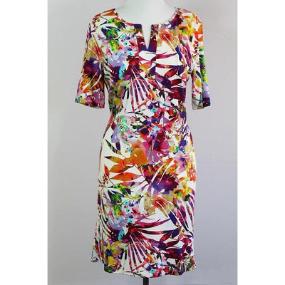 ERFO Multi-Coloured Floral V Neck Stretch Summer Dress