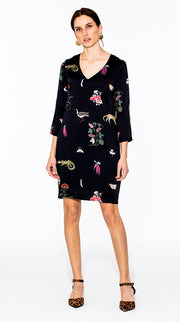 "Vilagallo - Doris V Neck Shift Dress In ""Night Garden"" Print"