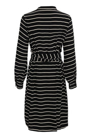 Part Two - Orphea - Black Dress with White Stripes and Sash Tie Belt