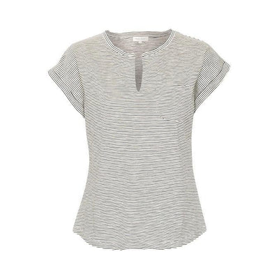 Part Two - Kedita Pattered Cotton Round Neck Tee Shirt With Slit (4 colours)