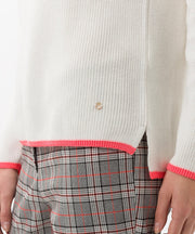 Brax - Liz Off White Cotton Mix Jumper with Coral Edging