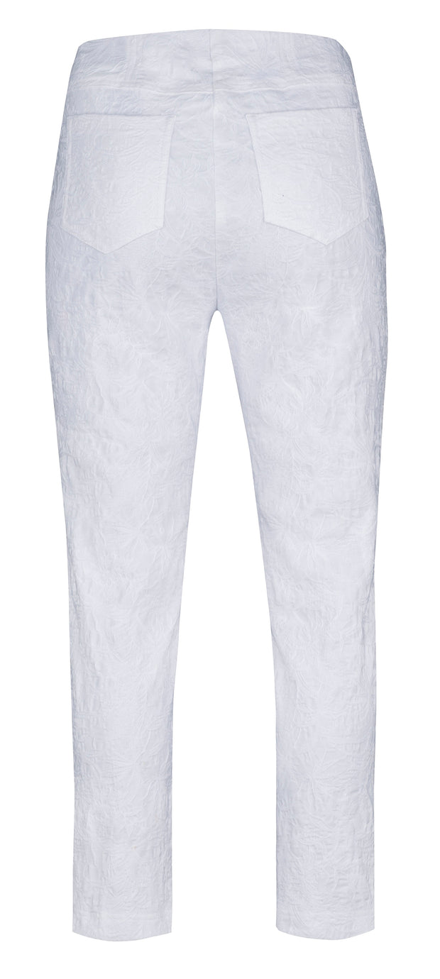 Robell – Bella 09 - Cropped Trousers in a Jacquard Stretch Embossed Print