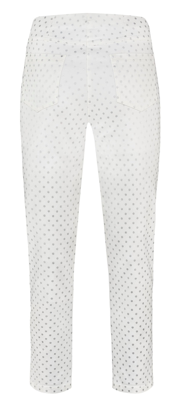 Robell – Bella 09 - Cropped Trousers with Metalic Silver Spot Print Design