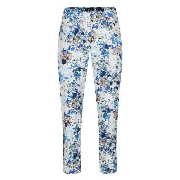 Robell – Bella 09 - Blue Floral Cropped Trouser