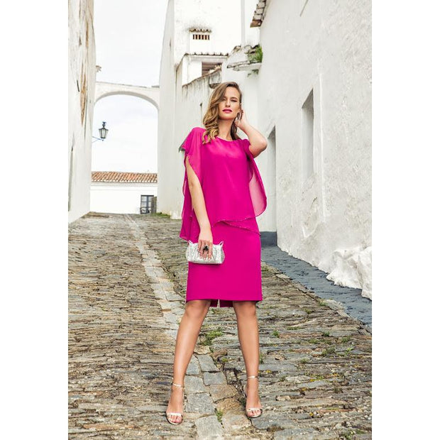 Michaela Louisa - Bright Pink Summer Dress with Chiffon & Diamante Edging overlay
