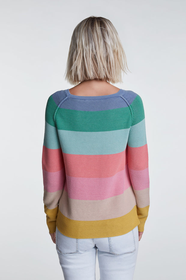 Oui - Fine Cotton Knit Long Sleeve Striped Round Neck Jumper