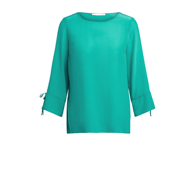 Oui -  3/4 Sleeve Wide Neck Blouse in Holly Green