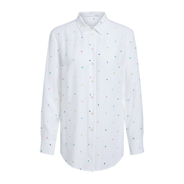 "Oui -  Long Sleeve Blouse with Tiny ""Confetti"" Print Design"