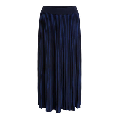 Oui -  Long Narrow Pleated Skirt with Elasticated Waistaband