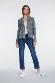 Oui -  Short V Neck Double Breasted Check Jacket