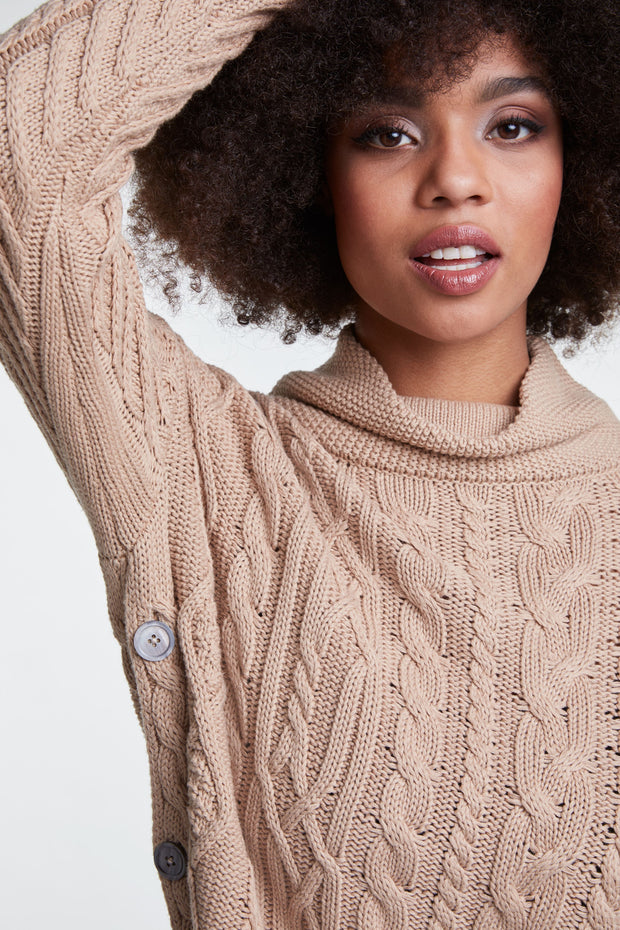 Oui - Scoop Neck Chunky Cable Knit Oversized Jumper