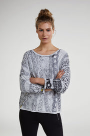 Oui - Fine Loose Knit Cotton 3/4 Sleeve Wide Round Neck Jumper