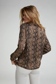 Oui -  Long Sleeve Round Neck Snake Print Blouse