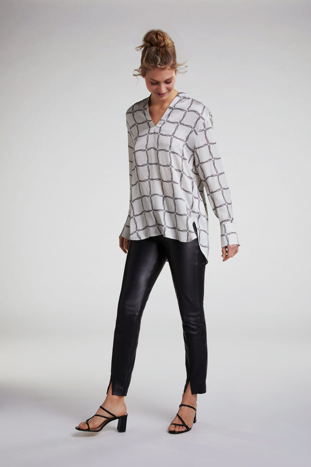 Oui -  Long Sleeve V Neck Tunic Top with Small Mandarin Collar