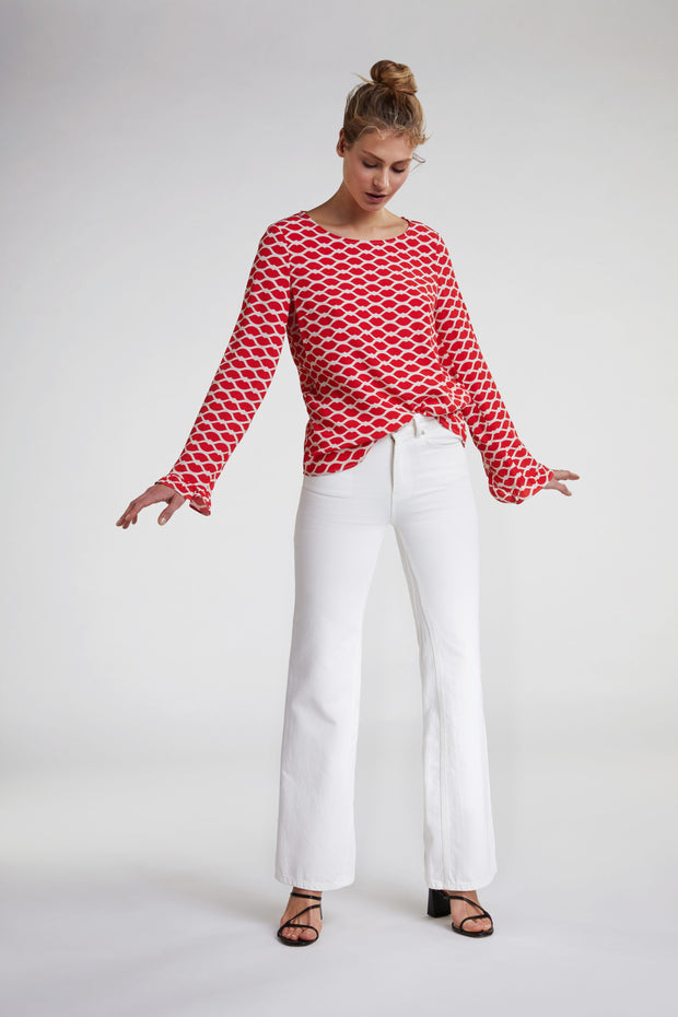 Oui -  Long Sleeve Blouse with Red Lips Design