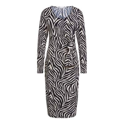 Oui -  3/4 Sleeve Wide Neck Easy Wear Stretch Dress in Zebra Print