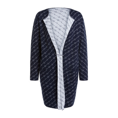 Oui -  Long Soft Cotton Knit Cardigan in Navy and White