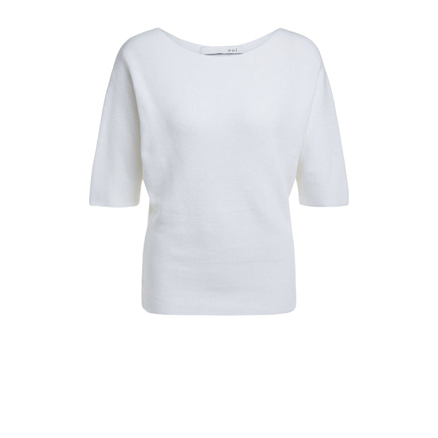 Oui -  Cotton 3/4 Sleeve Soft Knit Wide Neck Jumper